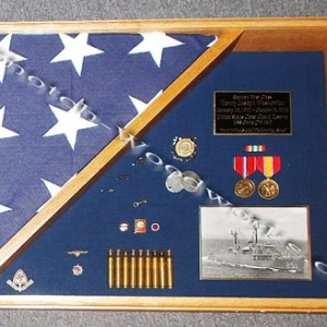Military burial flag shadow box