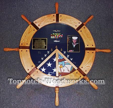 Navy Helm Ship wheel shadow box
