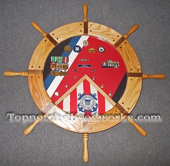 Navy helm shadow box