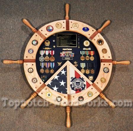 Navy ship wheel shadow box 1p1