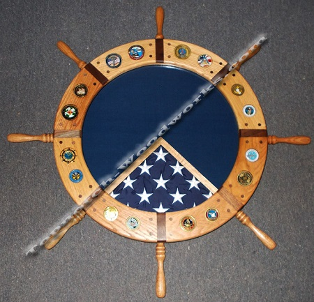 Navy ship wheel shadow box  with coin inlay
