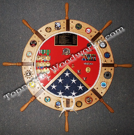 Navy ship wheel shadow box