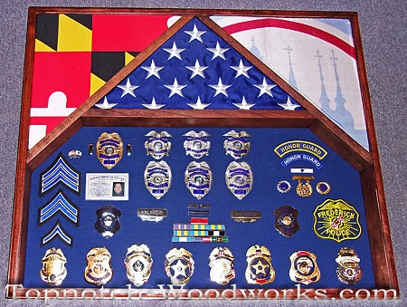 Police 3 flag shadow box
