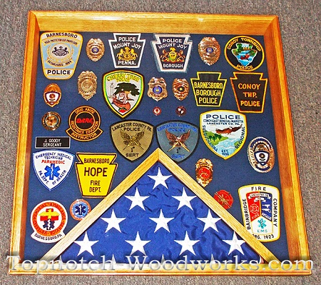 Police shadow box with flag