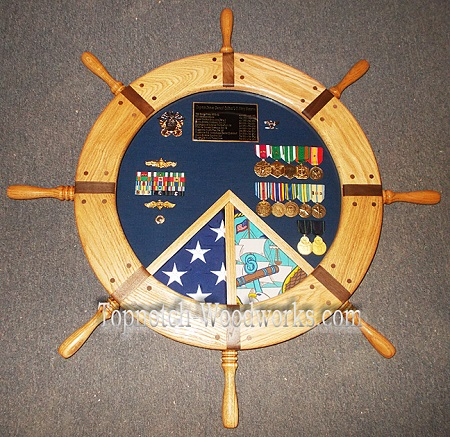 Ship wheel shadow box 2 flag