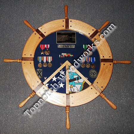 Ship wheel shadow box with 2 flags