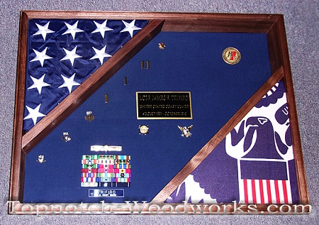 Small Military shadow box with 2 flags
