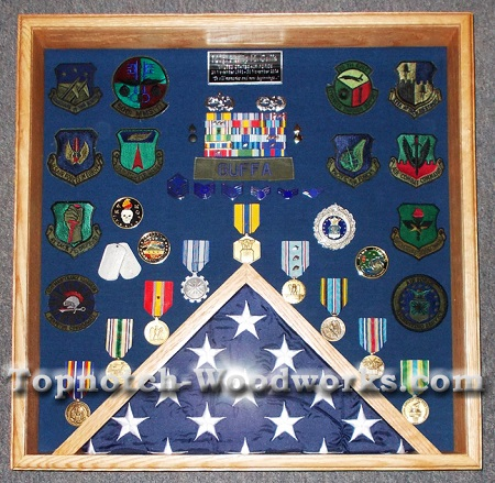 Square shadow box and flag display