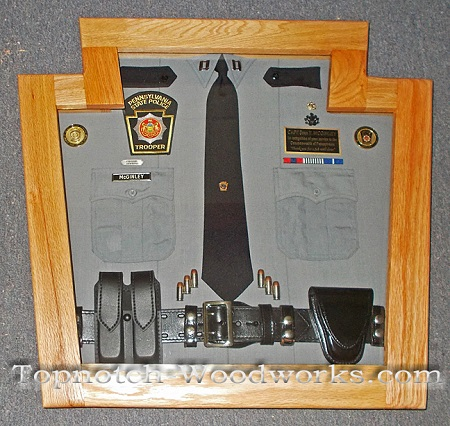 State police retirement display case