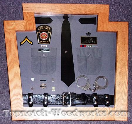 State trooper handcuff shadow box