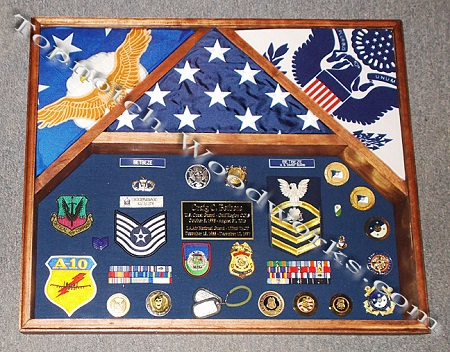 Three flag Airforce 3 flag shadowbox USCG