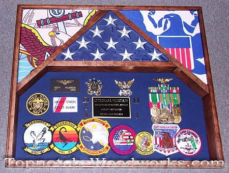 U.S. Navy shadow box 3 flags