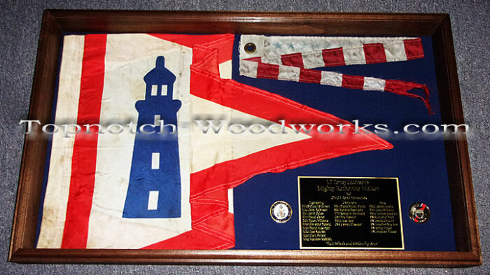 US Coast Guard Commissioning Pennant shadow box