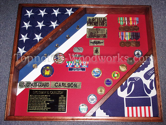 US Coast Guard Cutter shadow box with 2 flags