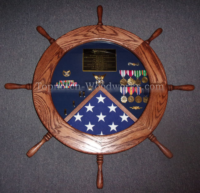 US Coast Guard Ship WHeel shadow box
