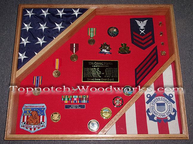 US Coast Guard doulbe flag case