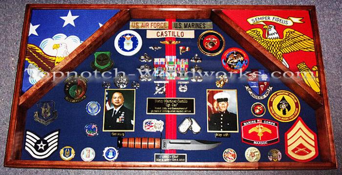 US Marines military shadow box 2 flags