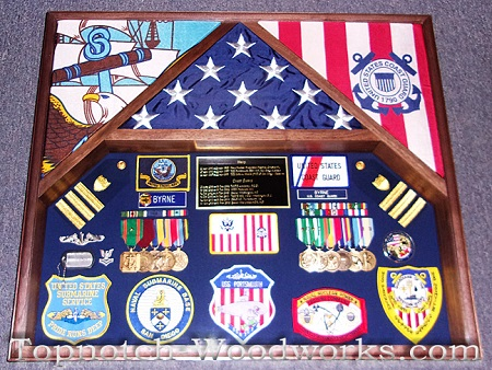 US Military flag display case