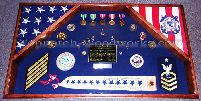 US Navy 2 flag shadow box and pennant