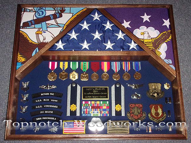 US Navy 3 flag shadow box