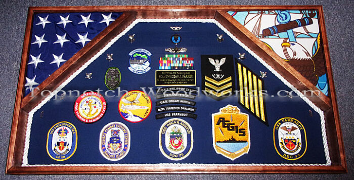 US Navy double military shadow box