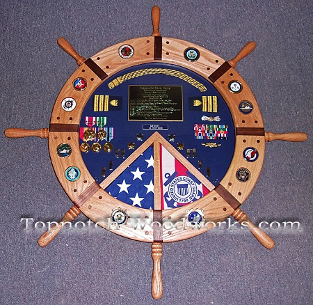 US Navy helm shadow box with inlays