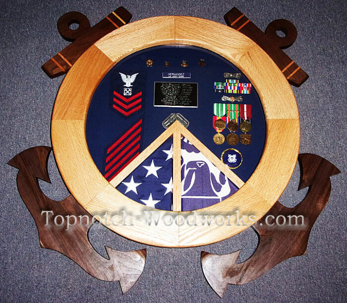 US Navy shadow box with anchors