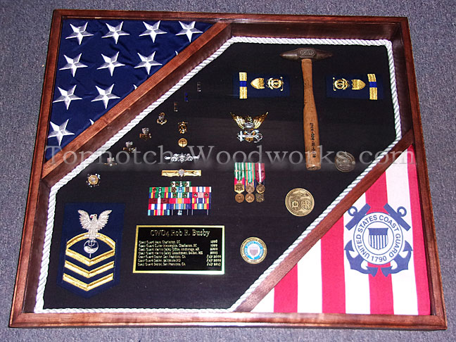 US marine corps display case with 2 flags