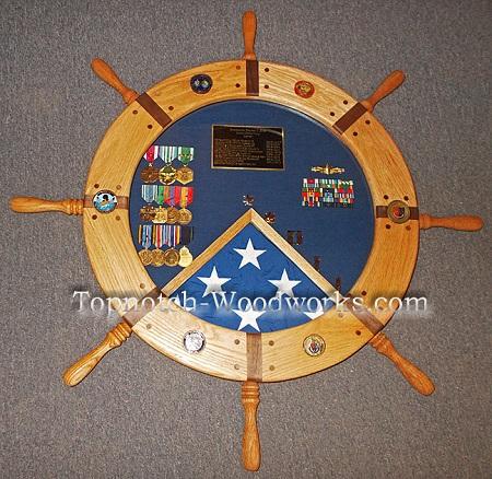 US navy ship wheel shadow box