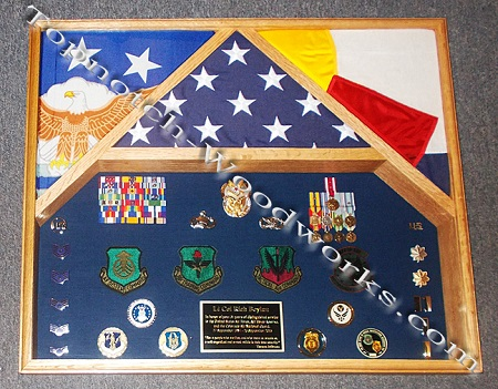 USAF 3 flag shadow box and State flag case