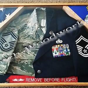USAf 2 flag shadow box