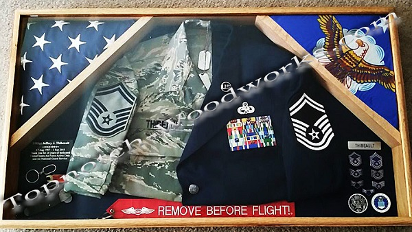 USAf 2 flag shadow box