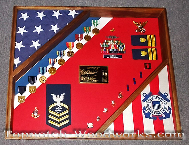 USCG MIlitary 2 flag shadow box