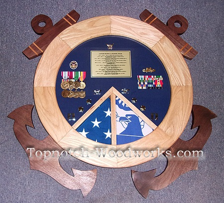 USCG Sheild shadow box with 2 flags