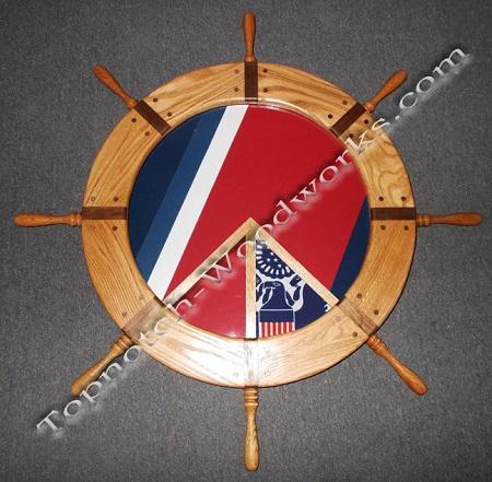 USCG Ship wheel shadow box