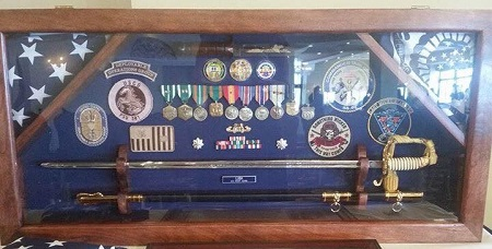Usmc Sword Case With Hinged Glass Door By Topnotch Woodworks