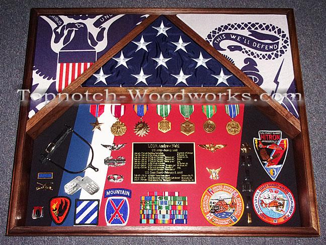 USCG US Army 3 flag shadow box