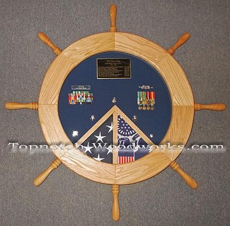 USCG helm shadow box 2 flags
