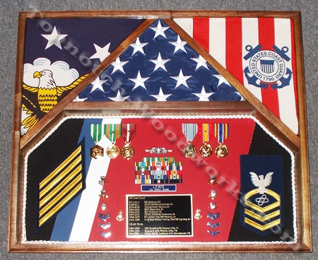 USCG shadow box for 3 flags