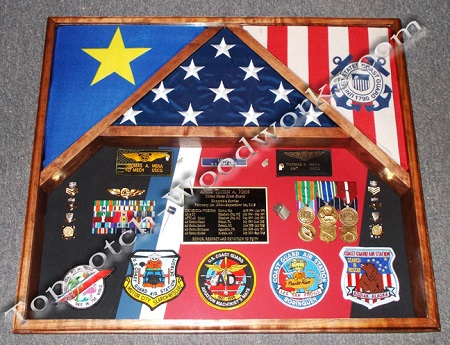 USCG three flag shadow box A