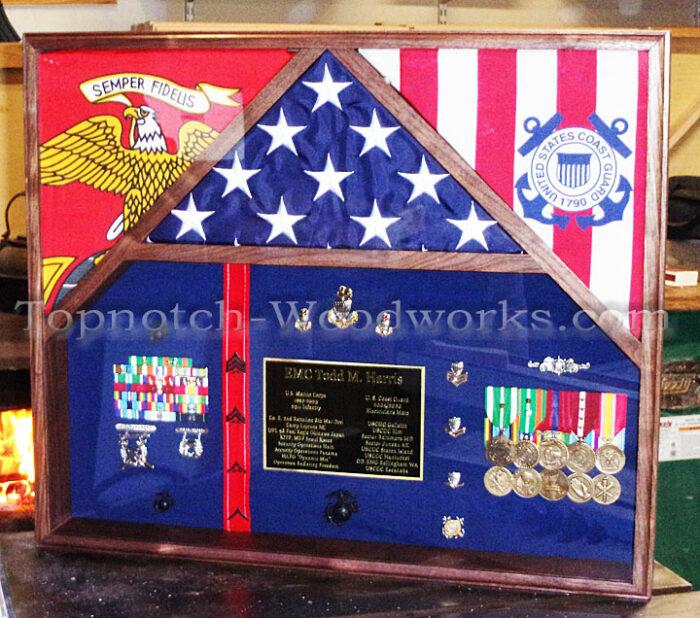 USCg and USMC Military shadow box