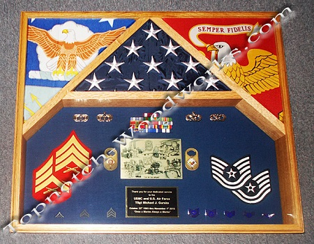 USMC 3 flag shadow box A1