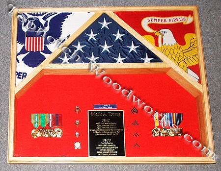 USMC 3 flag shadow box