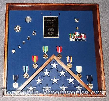 USMC shadow box and flag display case