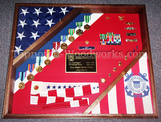USMC shadow box with USA Flag