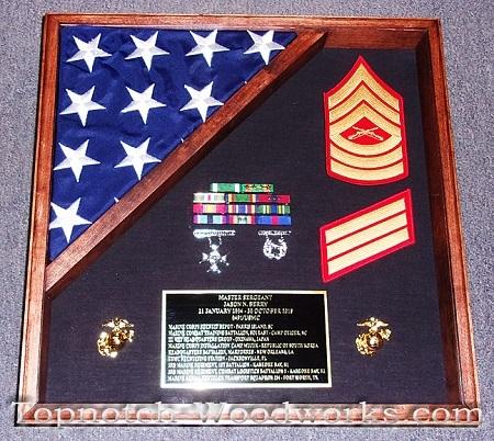 USMC shadow box with flag display
