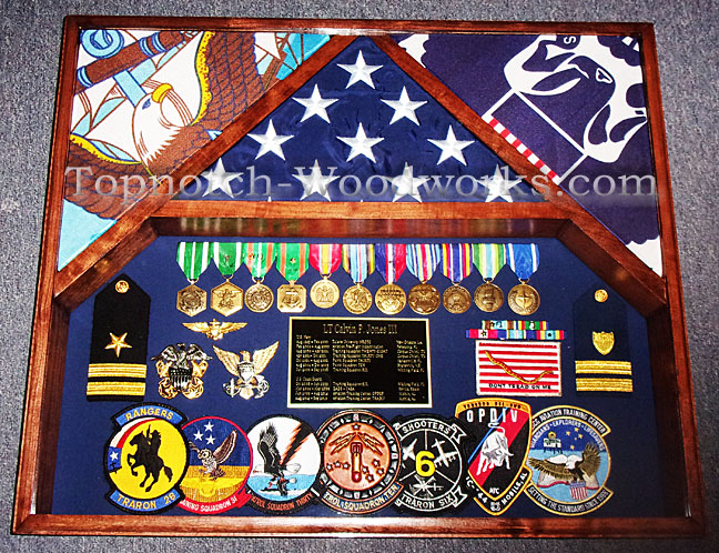 Us Navy and coast guard 3 flag shadow box