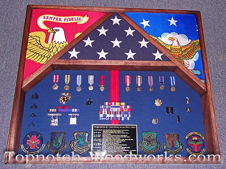 air force and marines 3 flag shadow box