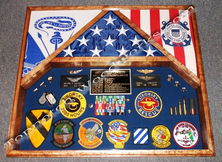 army and uscg shadow box and 3 flag case