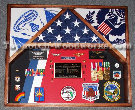 army flag  and military medal display case